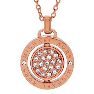 NEW Rose Gold Brilliant Pave Spinning Logo Necklac